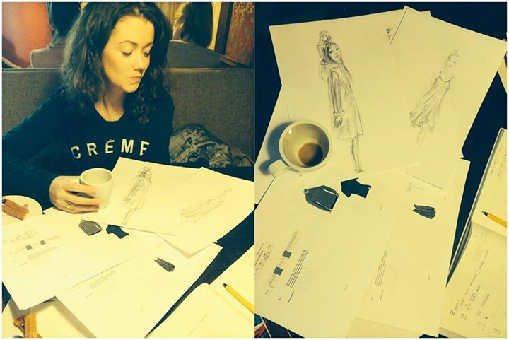 Erica Jennings working on clothing design ideas, personal picture album